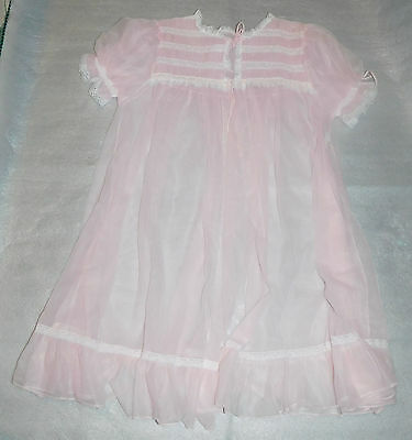 Vintage Gaymode Penneys Womens Nylon Pink Floral Sheer Lace Negligee - Size L