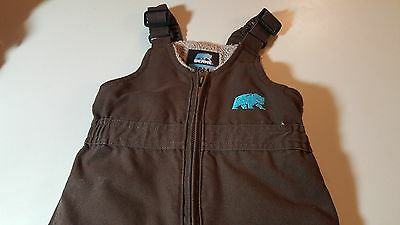 BERNE INFANT UNISEX ZIP FRONT COVERALLS, INSULATED, BROWN, SZ 12 Months