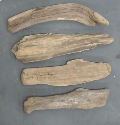 "Lot of 4 Medium Flat Driftwood Pieces For Signs 3""-4.5"" x 13""-16"" SBM4-4"