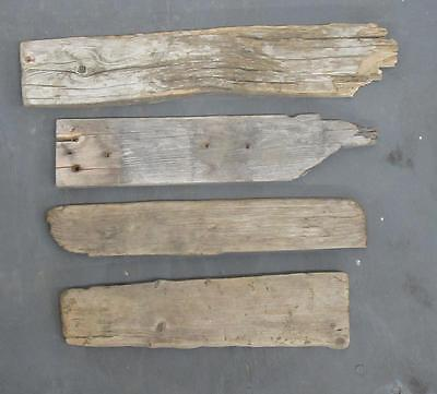 "Lot of 4 Medium Flat Driftwood Pieces For Signs 3""-3.75"" x 14""-19"" SBM4-3"