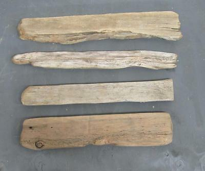 "Lot of 4 Medium Flat Driftwood Pieces For Signs 2.25""-4.25"" x 20""-22"" SBM4-1"