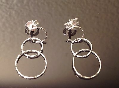 14K WHITE GOLD diamond cut DANGLE EARRINGS eternity circles SIGNED ZZ