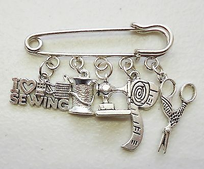 I Love Sewing Scissors Reel Needle Machine Tape Measure Brooch Kilt Pin Craft