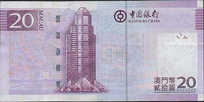 Macau 20 Patacas 8.8.2008  P 109  Prefix AB Circulated Banknote