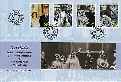 Kiribati 2007 FDC Diamond Wedding Queen Elizabeth II & Philip 4v Cover Stamps