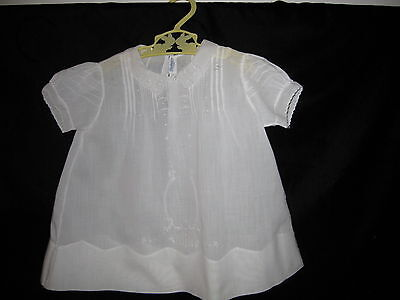Vintage Cotton White Embroidered Hemstitch Infants Dress 1 YR Hand Made