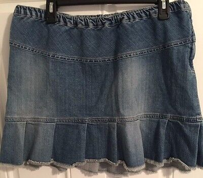 Mimi Maternity Size Large Blue Denim Jean Skirt Pleated Frayed Above Knee A23