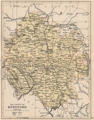HEREFORDSHIRE. Antique county map. Railways roads canals. PHILIP 1882 old