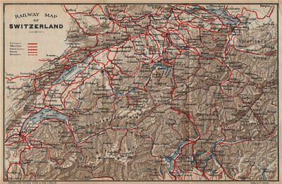 SWITZERLAND. Railway map. Postal routes. Steamers. Passes. THOMAS COOK 1900