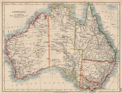 AUSTRALIA. States. Showing Northern Territory within SA. JOHNSTON 1906 old map