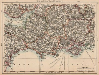 ENGLAND SOUTH. Dorset Somerset Wiltshire Hampshire Severn estuary 1906 old map