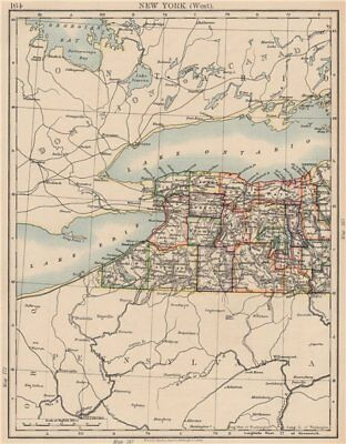 NEW YORK STATE WEST. Map showing counties & railroads. Niagara. JOHNSTON 1906