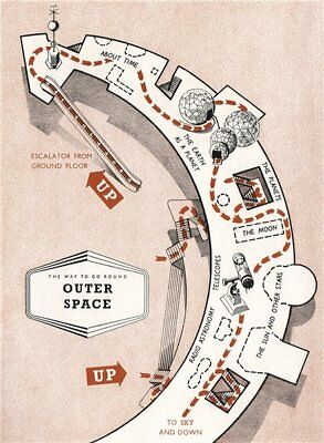 FESTIVAL OF BRITAIN. Outer Space exhibit. Tour plan 1951 old vintage map chart