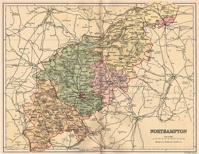 NORTHAMPTONSHIRE. Antique county map 1893 old vintage plan chart