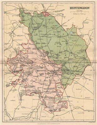 HUNTINGDONSHIRE. Antique county map 1893 old vintage plan chart