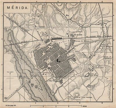 MÉRIDA MERIDA antique town city plan ciudad. Spain Espana. MURRAY 1898 old map