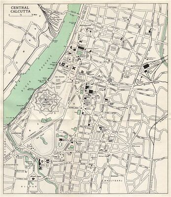 CALCUTTA. Kolkata town city plan. Fort William. Key buildings. India 1965 map