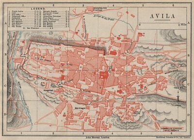 AVILA antique town city plan ciudad. Spain Espana. MURRAY 1898 old map