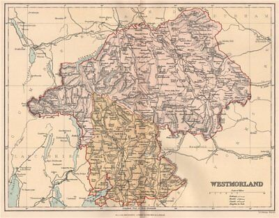 WESTMORLAND. Antique county map. Westmoreland 1893 old plan chart