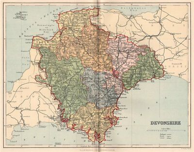 DEVONSHIRE. Antique county map 1893 old vintage plan chart