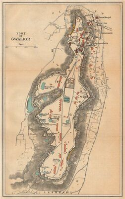 INDIA. Fort of Gwalior. Plan. Madhya Pradesh. 1929 old vintage map chart