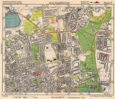 NE LONDON. Walthamstow Highams Park Chapel End Epping Forest. BACON 1948 map