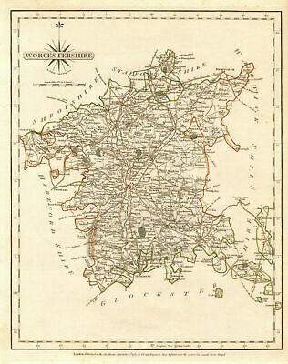 Antique county map of WORCESTERSHIRE by JOHN CARY. Original outline colour 1787