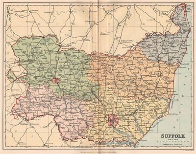 SUFFOLK. Antique county map 1893 old vintage plan chart
