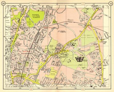 NE LONDON. South Woodford Green Chigwell Grange Hill Roding Valley 1953 map