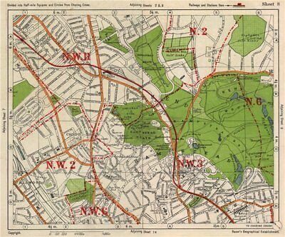 NW LONDON. Golders Green Hampstead Child's Hill Cricklewood. BACON 1938 map