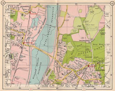 NE LONDON. Brimsdown Chingford Sewardstonebury Epping Forest 1953 old map