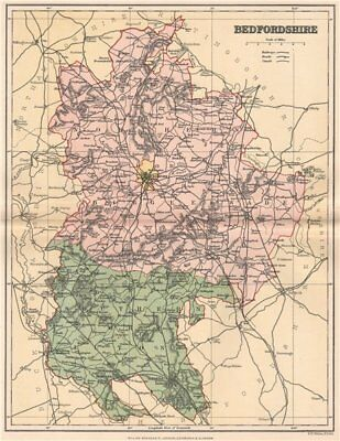 BEDFORDSHIRE. Antique county map 1893 old vintage plan chart