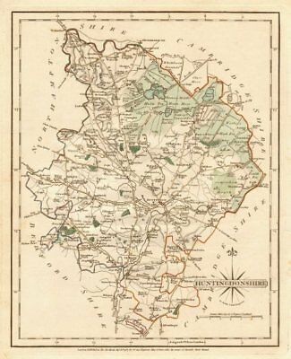 Antique county map of HUNTINGDONSHIRE by JOHN CARY. Original outline colour 1787