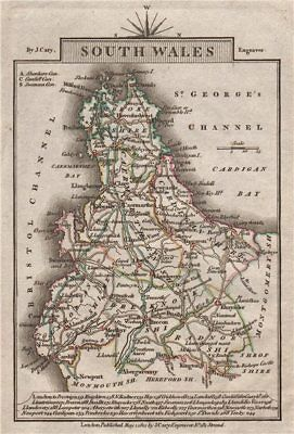 SOUTH WALES by John CARY. Miniature antique map. Original colour 1812 old