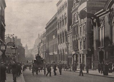 Cannon Street, Looking West. London 1896 old antique vintage print picture