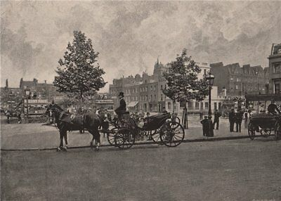 Sloane Square. London 1896 old antique vintage print picture