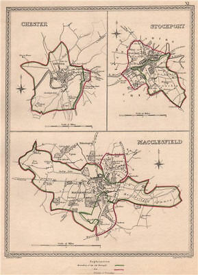 CHESHIRE TOWNS. Chester Stockport Macclesfield plans. CREIGHTON/WALKER 1835 map