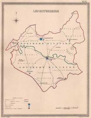 LEICESTERSHIRE antique county map by CREIGHTON/WALKER. Electoral 1835 old