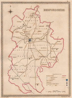 BEDFORDSHIRE antique county map by CREIGHTON/WALKER. Electoral 1835 old