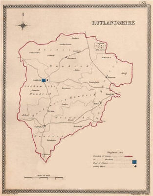 RUTLANDSHIRE antique county map by CREIGHTON/WALKER. Electoral 1835 old