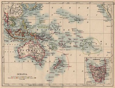 COLONIAL OCEANIA PACIFIC.British Dutch Spanish French German Port. 1897 map
