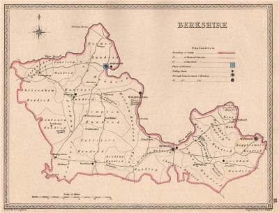 BERKSHIRE antique county map by CREIGHTON/WALKER. Electoral 1835 old