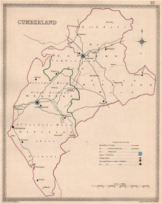 CUMBERLAND antique county map by CREIGHTON/WALKER. Cumbria. Electoral 1835