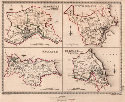 NORTHUMBERLAND TOWNS.Newcastle-upon-Tyne North Shields Morpeth Berwick 1835 map