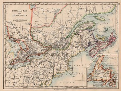 EASTERN CANADA. Ontario Quebec Maritime Provinces NB PE NS. JOHNSTON 1897 map