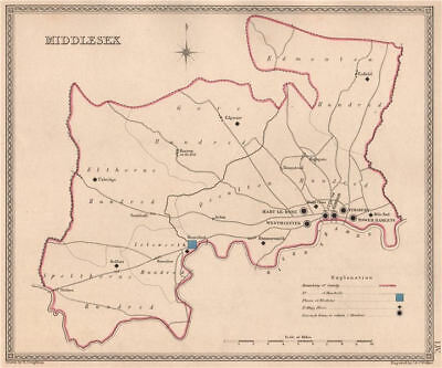 MIDDLESEX antique county map by CREIGHTON/WALKER. Electoral 1835 old