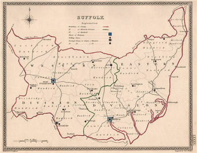 SUFFOLK antique county map by CREIGHTON/WALKER. Electoral 1835 old
