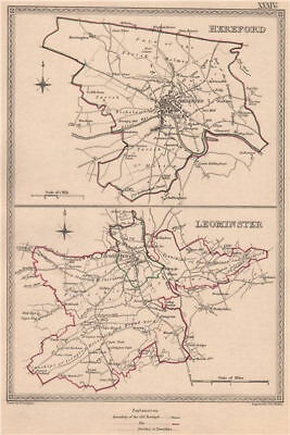 HEREFORDSHIRE TOWNS.Hereford Leominster borough plans.CREIGHTON/WALKER 1835 map