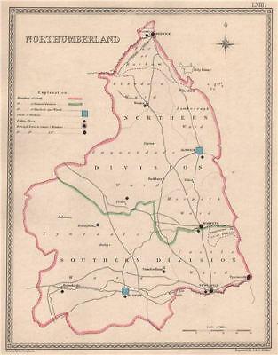 NORTHUMBERLAND antique county map by CREIGHTON/WALKER. Electoral 1835 old