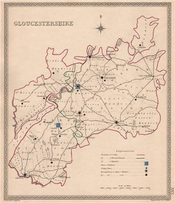 GLOUCESTERSHIRE antique county map by CREIGHTON/WALKER. Electoral 1835 old